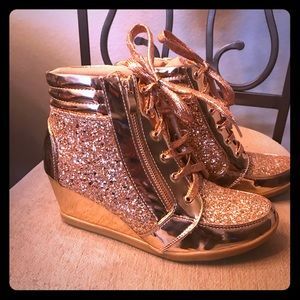 Rose Gold glitter wedge booties club 10